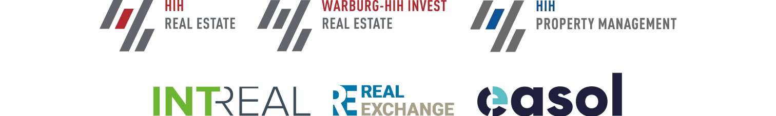 HIH-Gruppe, Logos, HIH Real Estate, Warburg-HIH Invest, HIH Property Management, INTREAL, Real Exchange, easol
